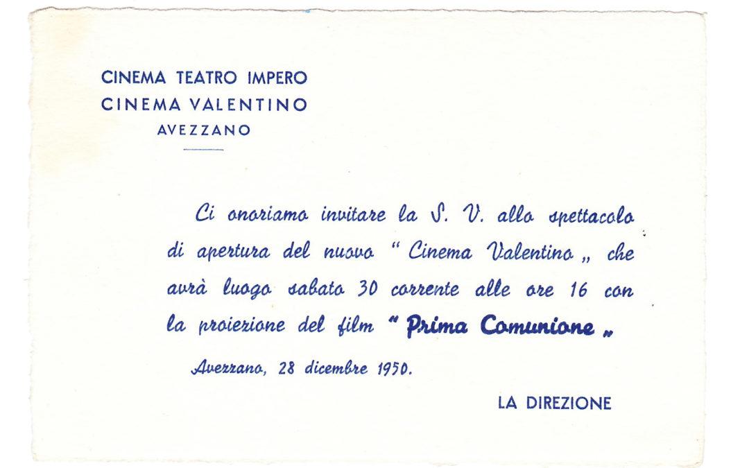 Un invito per l'apertura del Cinema Valentino ad Avezzano