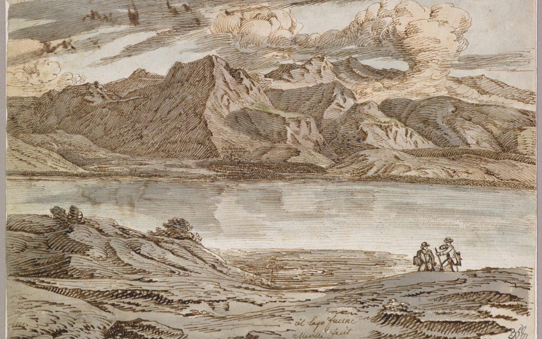 Veduta del lago del Fucino e di Celano in Abruzzo – Jakob Christoph Miville