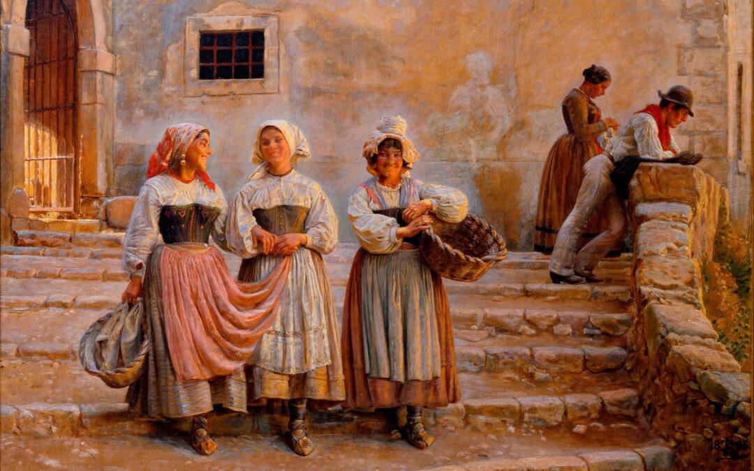 Giovani donne che trasportano calce. Civita d'Antino – Kristian Zahrtmann