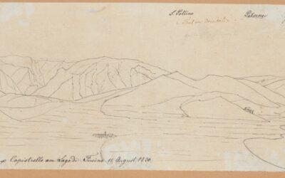 Veduta dall'alto tra Avezzano e Capistrello sul Lago del Fucino – Arnold Escher von der Linth