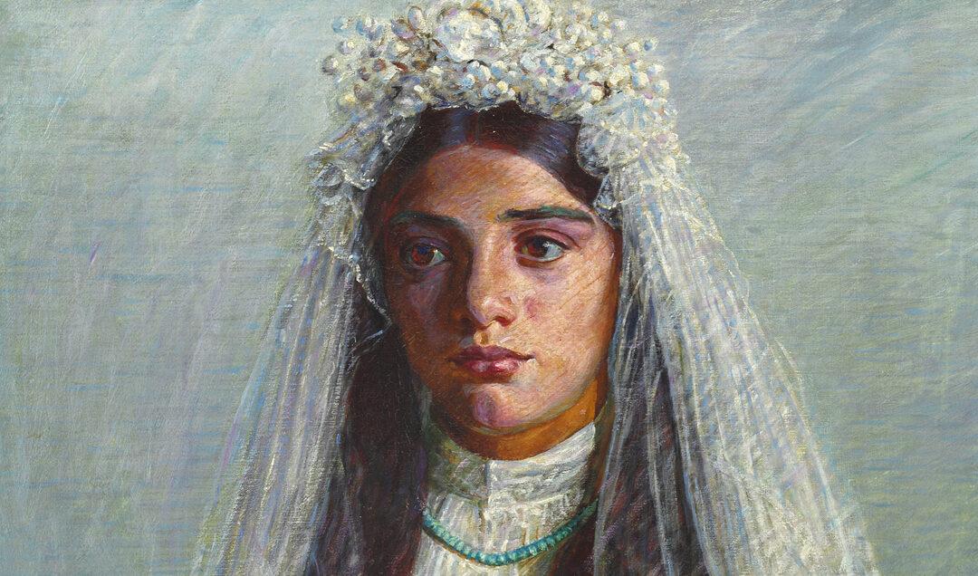 Consiglia. Bambina di Civita d'Antino seduta con il vestito della prima comunione – Kristian Zahrtmann