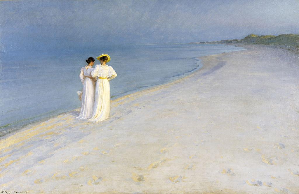P.S._Krøyer_-_Summer_evening_on_Skagen's_Beach._Anna_Ancher_and_Marie_Krøyer_walking_together._-_Google_Art_Project (1)