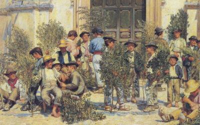Domenica delle palme. Ragazzi fuori dalla chiesa di Santo Stefano a Civita d'Antino – Kristian Zahrtmann